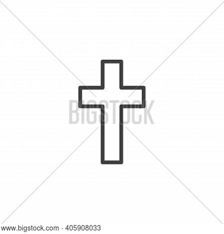 Religion Cross Line Icon. Linear Style Sign For Mobile Concept And Web Design. Christian Cross Outli