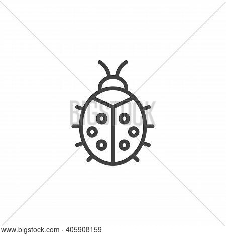 Ladybug Line Icon. Linear Style Sign For Mobile Concept And Web Design. Ladybird Outline Vector Icon