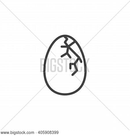 Cracked Egg Line Icon. Linear Style Sign For Mobile Concept And Web Design. Cracked Eggshell Outline