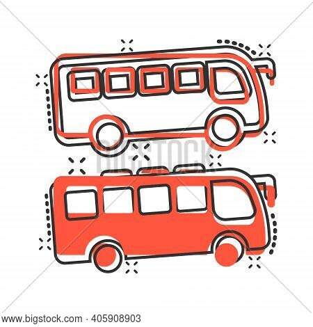 Bus Icon In Comic Style. Coach Cartoon Vector Illustration On White Isolated Background. Autobus Veh