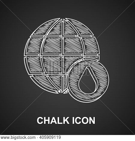 Chalk Earth Planet In Water Drop Icon Isolated On Black Background. World Globe. Saving Water And Wo