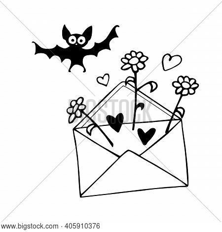 Envelope With Letter, Flowers, Hearts And Bat. Funny Joke. Hand Drawn Vector Element Of Romantic Des
