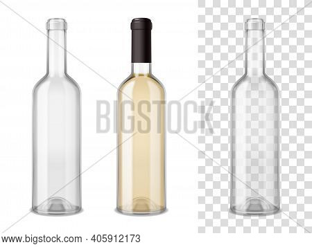 Empty And Sealed By Cap Filled Wine Glass Bottles Realistic Set On White And Transparent Mixture Bac