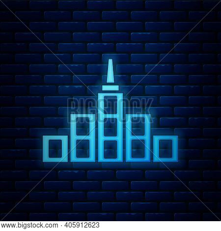 Glowing Neon City Landscape Icon Isolated On Brick Wall Background. Metropolis Architecture Panorami