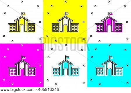 Set United States Capitol Congress Icon Isolated On Color Background. Washington Dc, Usa. Vector