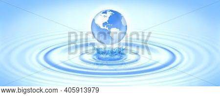 Planet Earth Drop Into Blue Wave Make Splash Water With Copy Space Text World Water Day. Save Clean
