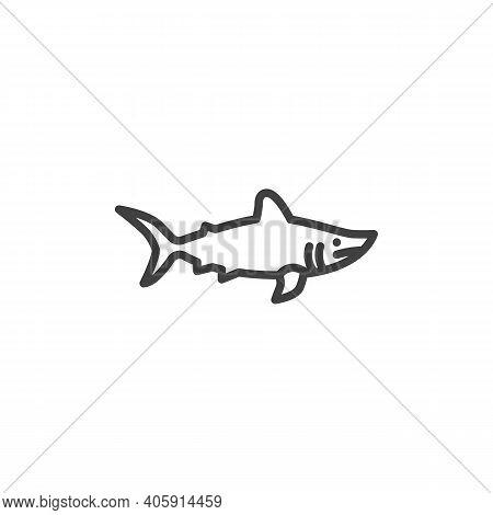 Shark Fish Line Icon. Linear Style Sign For Mobile Concept And Web Design. Porbeagle Shark Outline V