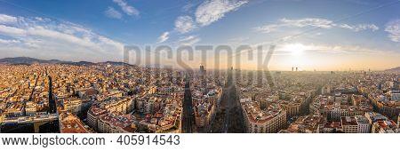 Pano Aerial Drone Shot Of Avinguda Diagonal In Barcelona In Morning Sunrise
