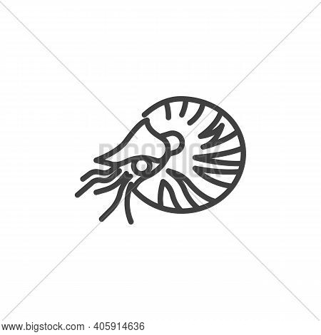 Marine Mollusks Line Icon. Linear Style Sign For Mobile Concept And Web Design. Shrimp Mollusks Outl