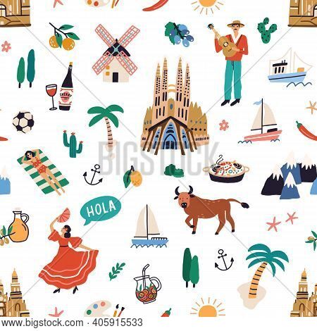 Seamless Pattern With Famous Symbols Of Spanish Culture. Endless Repeatable Texture With Buildings,