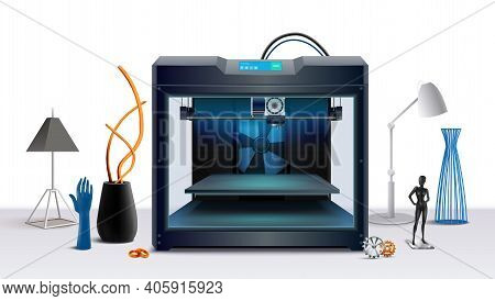 Realistic Composition With 3d Printer And Various Printed Objects Vector Illustration