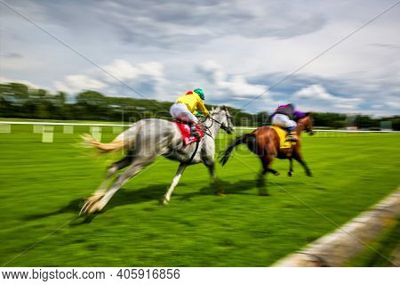 Horse Racing At The Racecourse In Munich-riem, Germany, Europe