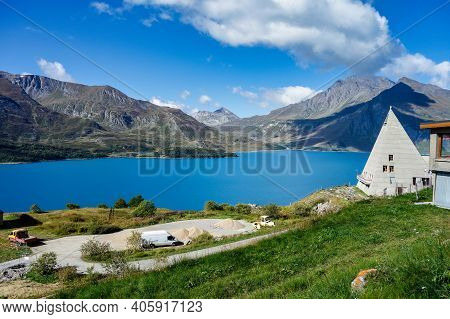 Summer View Of The Artificial Mont Cenis Lake, In The Savoy Department Near Lanslevillard, Rhone-alp