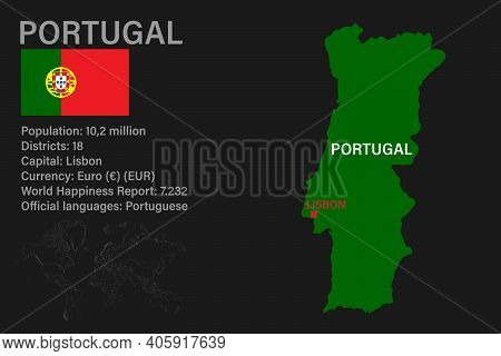 Highly Detailed Portugal Map With Flag, Capital And Small Map Of The World