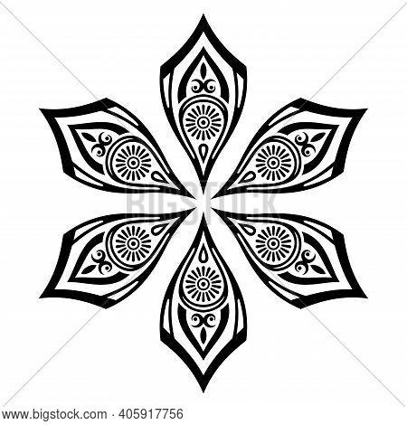 Floral Ornate Sign. Symmetric Ornamental Shape, Isolated On White Background. Decorative Round Ornam