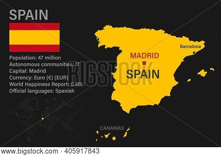Highly Detailed Spain Map With Flag, Capital And Small Map Of The World