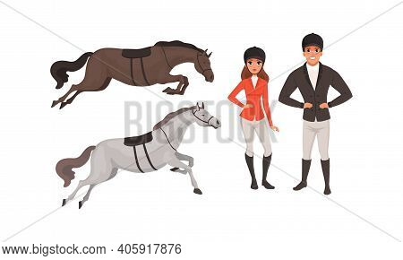 Equestrian Sport Set, Man And Woman Professional Jockeys And Horses Cartoon Style Vector Illustratio