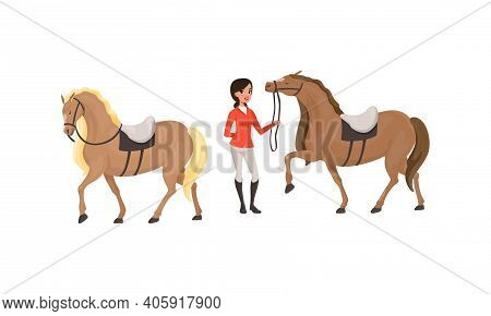 Equestrian Sport Set, Woman Professional Jockey And Horses Cartoon Style Vector Illustration