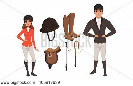 Equestrian Sport Set, Man And Woman Professional Jockeys And Sports Equipment Cartoon Style Vector I