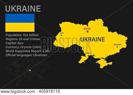 Highly Detailed Ukraine Map With Flag, Capital And Small Map Of The World