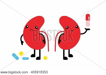 Couple Of Cute Cartoon Style Kidney Characters With Pills. Taking Convenient Or Wrong Medicines Conc