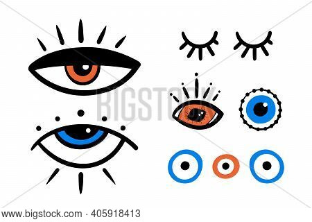 Set, Collection Of Vector Decorative Eyes Icons, Evil Eyes Symbols. Intuition And Spirituality Conce