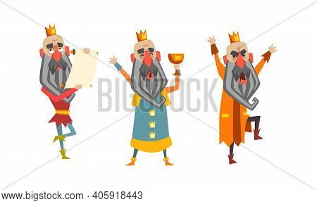 Funny Warlike King Character Set, Old Comic Bald Bearded King Wearing Gold Crown Cartoon Style Vecto