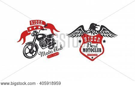 Moto Club Retro Logo Templates Set, Racer Club Vintage Badges With Classic Motorcycle And Eagle Vect