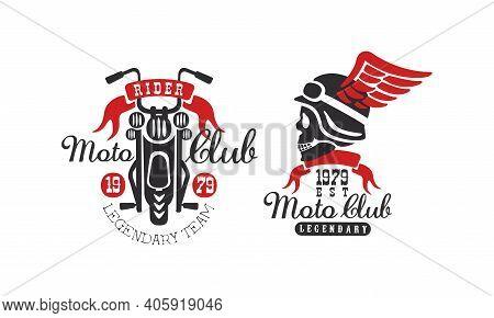 Moto Club Retro Logo Templates Set, Legendary Racer Club Vintage Badges Vector Illustration