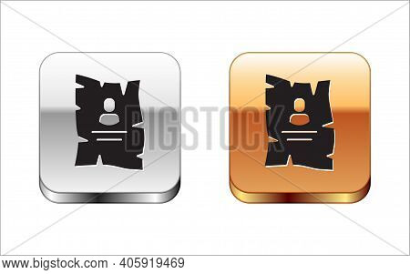 Black Wanted Western Poster Icon Isolated On White Background. Reward Money. Dead Or Alive Crime Out