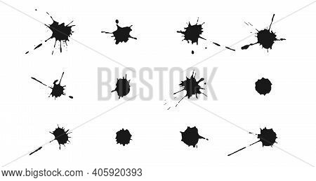 Ink Splashes And Drops. Set Of Vector Handdrawn Blobs, Blots And Spatters