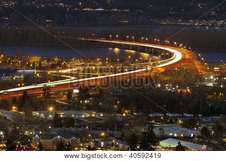 Interstate Freeway I-205 At Blue Hour