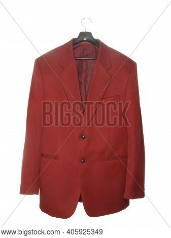 Burgundy Jacket On A Black Plastic Hanger With A Metal Hook Isolated On A White Background.
