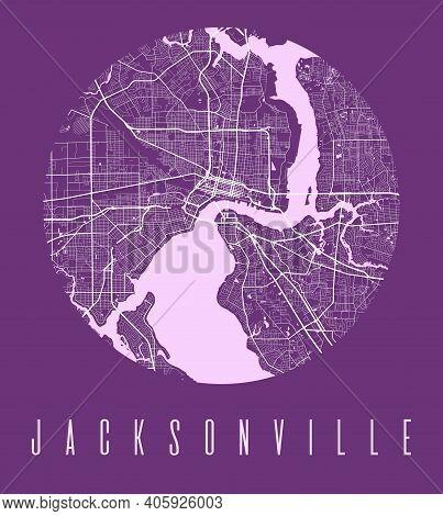 Jacksonville Map Poster. Decorative Design Street Map Of Jacksonville City. Cityscape Aria Panorama