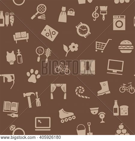 Shops, Seamless Pattern, Color, Brown, Vector. Different Categories Of Goods. Brown Icons On A Brown