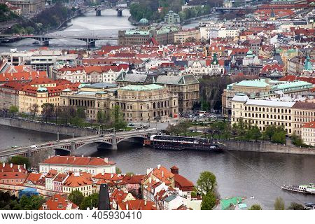 Prague, Czech - April 24, 2012: This Is An Aerial View Of The Historic Building Of The Rudolfinum, T