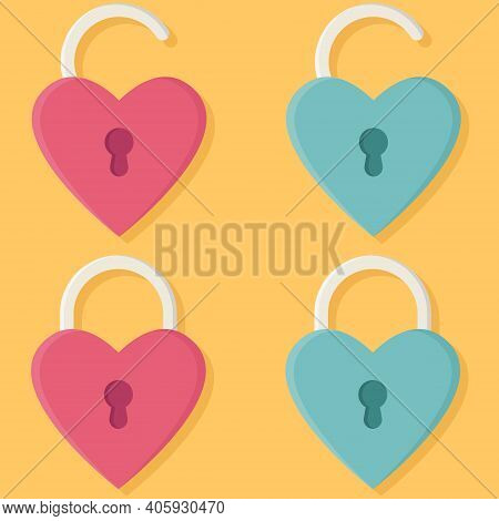 Set Of Hearts With A Keyhole. Vector Illustration For Valentine's Day. Romantic Concept. Padlock Ico