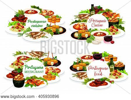 Portuguese Restaurant Meals Stuffed Squid, Cod Pasteigi, Soup And Fish Croquettes, Sardines, Pasteh