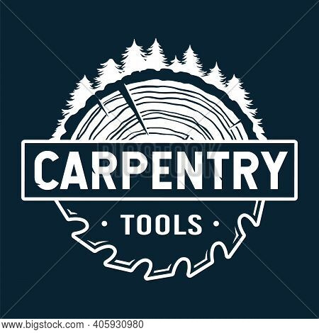 Wood Carpentry Logo And Saw For Wooden Tree