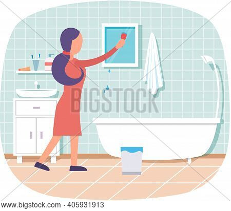 Housework Woman In Bathroom Washes Mirror Does Sanitary Hygienic Cleaning. Female Housekeeper Wash O