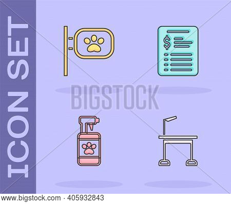 Set Pet Grooming Table, , Shampoo And Grooming Salon Price List Icon. Vector