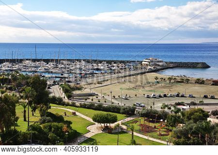 Limassol, Cyprus - 03 Jan 2016: The View On Small Houses In Limassol, Cyprus