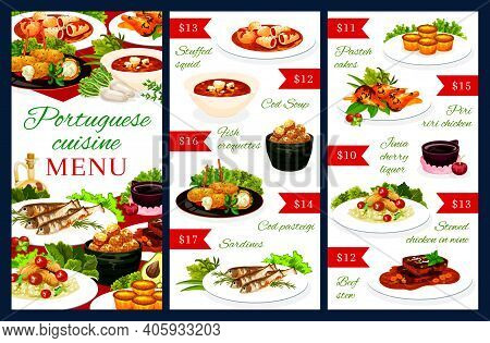 Portuguese Vector Menu Template Stuffed Squid, Cod Soup, Pasteigi, Fish Croquettes And Sardines. Pas