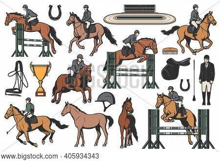 Equestrian Sport Vector Icons, Horse Riding And Race Equipment Jockeys And Hippodrome. Professional