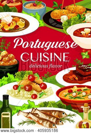 Portuguese Cuisine Vector Cod Pasteigi And Soup, Fish Croquettes, Sardines With Stewed Chicken In Wi