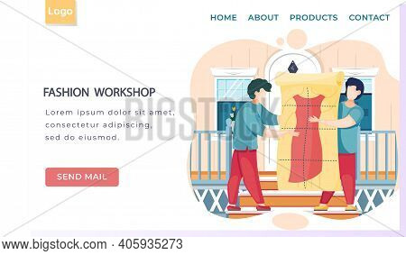 Fashion Workshop Landing Page Template Designers Making Model. Dressmakers Confer And Looking At Clo