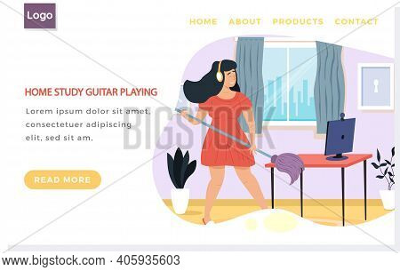 Website About Home Study Guitar Playing. Girl With Headphones Imagines Guitar And Singing. Female Ch