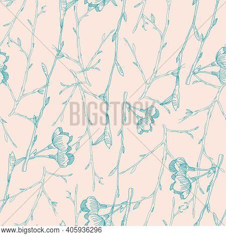 Vector Blue Ecru Cherry Flowers Seamless Pattern