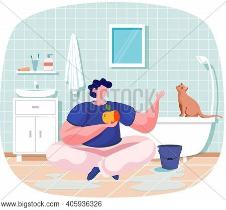Pet Owners Landing Page Template Guy Sits With Apple In Bathroom On Floor Talking To Clever Cat. Ani