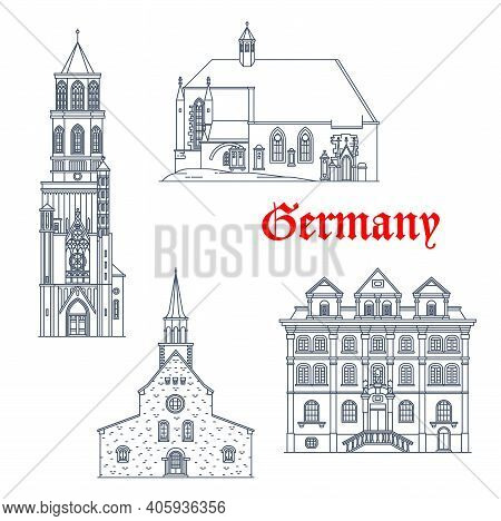 Germany Landmarks German Travel Architecture Vector Icons. Germany Baden Wurttemberg Landmarks Of Ro